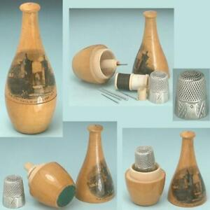 Antique Mauchline Ware Bottle Sewing Kit & Sterling Silver Thimble * Circa 1890s