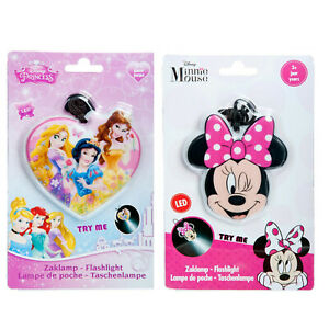 Disney Kids LED Shaped Flashlight Torch With Strap Minnie Mouse Princesses