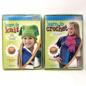Leisure Arts Bundle Kids Learn To Knit Kit Hat + Learn to Crotchet Scarf Ages 8+