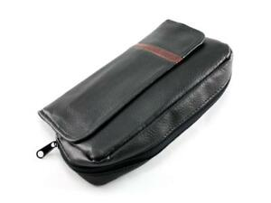 Black Leather 2 Tobacco  Pipes Pipe Bag Case Tobacco Accessories Pouch