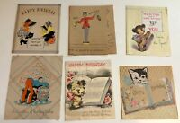 Lot of 6 Vintage 1930's Children's Happy Birthday Greeting Cards