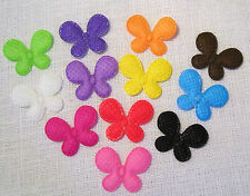 LOT de 12 appliques MOYENS PAPILLONS Multicolores ** 20 x 25 mm ** Tissu Gaufré