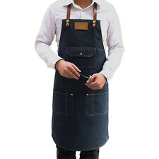 New Working Apron Cafe Barista Florist Barber Denim Workwear Faux Leather Straps