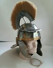 NEW Medieval Replica ROMAN CENTURION Officer Steel Helmet Lined & White Plume