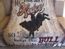 New This Ain't My Rodeo Afghan Gift Tapestry Throw Blanket Western Theme Bull