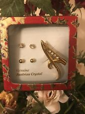 """jewelry Set Two Pair Of Stud Earring W/ """"A"""" Letter Pin Gold Austrian Crystal"""