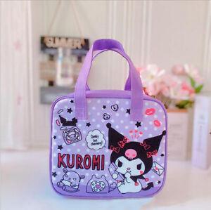 Cute Girl's Purple Anime Kuromi Lunch Bag Bento Box Canvas Handbag Insulation