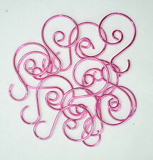 "AGO Miniature Small Christmas Tree Scroll Wire Ornament Hook 1.25"" 12pcs - PINK"