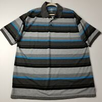 Red Rhino Mens Short Sleeve Polo Shirt 2XL Gray Blue Black Stripes Casual Cotton