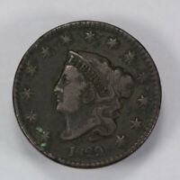 1829 1c CORONET HEAD LARGE CENT, HIGH-GRADE VF+ EARLY COPPER COIN LOT#N453