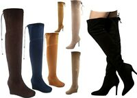 NEW Women's Fashion Thigh Knee High Wedge High Heel  Boots Shoes Size 5.5 - 10