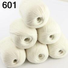 6ballsX50g luxurious Pure 100% Soft Cashmere Hand Knitting Yarn 601 White
