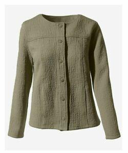Olive Vetiver Textured Snap-Up Jacket, Size- Medium (US 8)