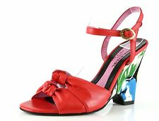 Sonia Rykiel NAPPA Red Leather Ankle Strap Wedge Sandals 8863 Size 37 EU $495
