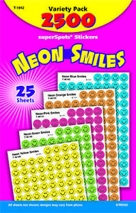 Trend Enterprises SuperSpots Neon Smiles Stickers, Pack of 2500