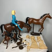 Vtg 1970 Lot Of 3 Mattel Horses Marx Doll Stand Accessories Western Clothes Camp