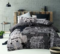Accessorize Computer Power Silver 100% Cotton Quilt Doona Cover Set - QUEEN KING