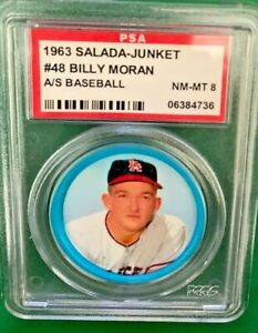 1963 Salada coin Billy Moran #48 PSA 8 Los Angeles Angels