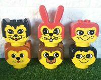 Vintage LEGO DUPLO My First Toys Animal Heads x6 People, Cats, Dogs & Rabbit VGC