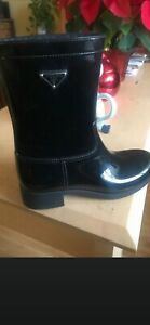 $375 PRADA Rubber Black Rain Boots  Size 37 US 7