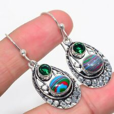 """Rainbow Calsilica, Emerald 925 Sterling Silver Earring 1.8"""""""