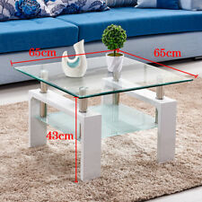 Square Coffee Table Tempered Glass Under Shelf Storage Living Room Furniture