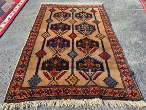 Authentic Hand Knotted Kurdish Wool Area Rug 6 x 4 Ft