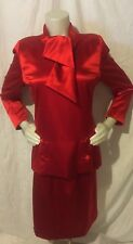 Vtg 80's Tarquin Ebker Red Two Pc Dress Size Small