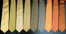 Brooks Brothers YELLOW, GOLD, ORANGE, Dot Floral Links Silk Tie Lot