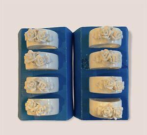 Bone China Applied Rose Napkin Rings White Porcelain Vintage Set of 8