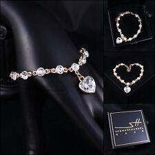 Herz-Armband, Bracelet *Herzen* Armreif, Gelbgold pl, Swarovski Elements, +Etui
