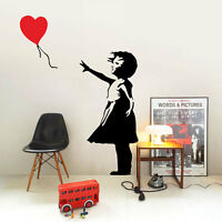 Banksy childhood Girl with balloon Large Vinyl  Mural wall art sticker decoratio