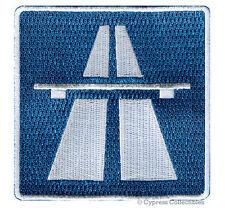 AUTOBAHN ROAD SIGN PATCH iron-on NO SPEED LIMIT embroidered BIKER EMBLEM GERMAN
