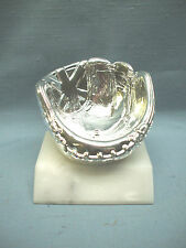 silver BASEBALL trophy mitt holder on marble base