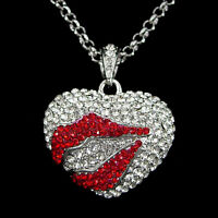 Twinkling Red Lip Heart USE Austria Crystal Necklace