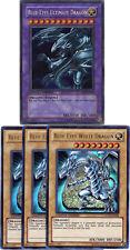 YuGiOh PGLD-EN055/JMP-005 BLUE-EYES ULTIMATE+SDBE-EN001 WHITE DRAGON 4-Card Set!