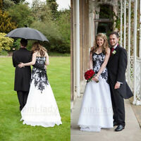 2016 New White Black Appliques Wedding Dresses Chiffon Bridal Gown Custom 6-20
