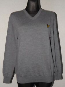 Lyle & Scott scotland womens merino wool long sleeve v-neck grey jumper size XL