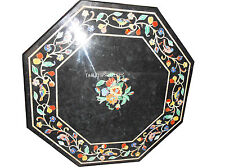"""24"""" Black Marble Coffee Table Top Mosaic Floral Inlay Outdoor Patio Decor H2454B"""