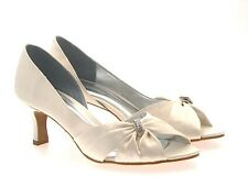 Para mujeres Zapatos raso de boda Peeptoe Señoras Diamante Nupcial Sandalias Fiesta Baile de graduación