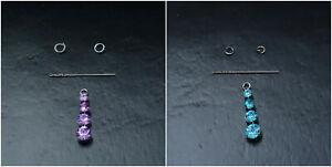 2x Nail Piercing Dangle Nagelpiercing mit 4x Glitzer Strassstein
