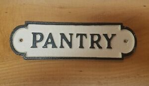 Vintage Aged Victorian Black White CAST IRON Sign Pantry Plaque