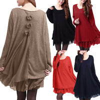 Damen Baggy Langarm Rib Knit Jumper Tunika Peplum Swing Mini Dress Shirtkleid
