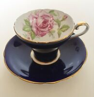 RARE Vintage Aynsley Bailey-type Cabbage Rose Dark Cobalt Corset Cup Saucer C957