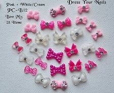 Nail Art Set 3d Decorations, PINK + WHITE/CREAM BOWS Craft Card Making PC-B12