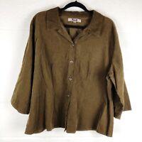 FLAX Large Brown Corduroy Long Sleeve 100% Cotton Button Down Boxy Shirt