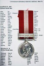 Canada General Service Medal Fenian Raid 1866 To Gr.R.Gammon.1st.Halifax.V.A.