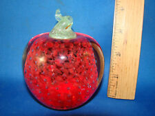 "Red Apple Strawberry Glass Paper Weight Controlled Bubbles 4"" Tall @18"