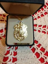 """CREED NEW GOLD 24KT """"ST MICHAEL SHIELD MEDAL,  24"""" Chain, Gift Box VP9393"""