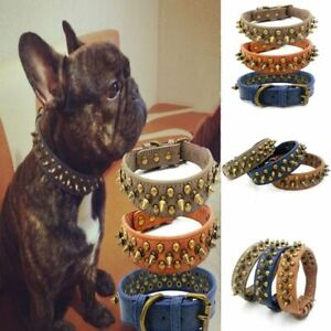 French Bulldog Pitbull Dogs Collar Retro Studded Leather Spiked Neck Strap Dog